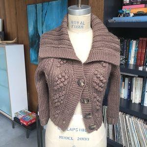 Express brown lurex cardigan